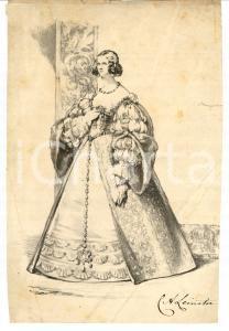 1850 ca Ritratto di nobildonna C. A. LEINSTER Autografo