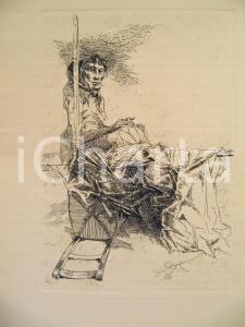 1980 ca Giovanni CAPPELLI Anziana che cuce *Litografia