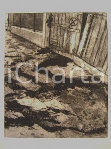 1960 ca Luciano DALL'ACQUA La strada abbandonata Litografia con firma AUTOGRAFA