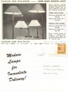 1946 NEW YORK (USA) Lampade HANSEN and WALDRON per Vinicio PALADINI Cartolina VG