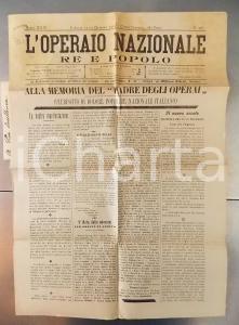 1901 L'OPERAIO NAZIONALE Società Operaie in ricordo di Umberto I *Giornale