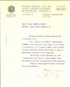 1926 FIRENZE FRATELLI ALINARI su vendita lastre piccole bromuro *Lettera