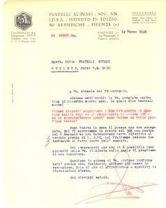 1926 FIRENZE FRATELLI ALINARI su vendita fotografie di SPOLETO *Lettera