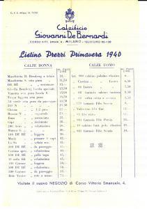 1940 MILANO Calzificio Giovanni DE BERNARDI *Listino primavera