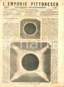1868 L'EMPORIO PITTORESCO L'eclisse del 18 agosto 1868 - Esequie Rossini RIVISTA