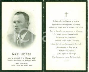 1934 NOVARA Santino Max HOFER industriale e agricoltore CON FOTOGRAFIA