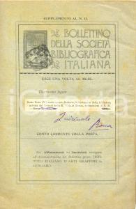 1898 MILANO Bollettino SOCIETA' BIBLIOGRAFICA ITALIANA Indice AUTORI - MATERIE