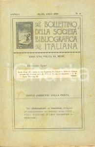 1898 MILANO Achille BERTARELLI Stampe SOCIETA' BIBLIOGRAFICA ITALIANA Bollettino