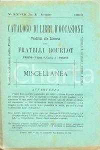 1900 Novembre TORINO Libreria FRATELLI BOURLOT n°XXVIII Occasioni MISCELLANEA