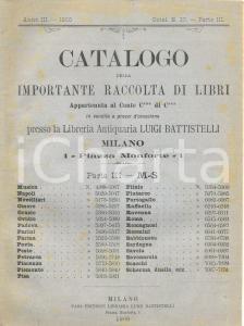 1900 MILANO Libreria antiquaria Luigi BATTISTELLI Asta biblioteca conte C. di C.