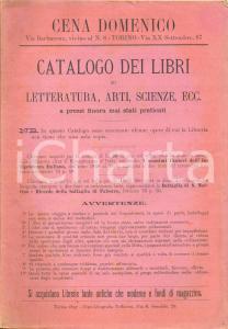 1897 TORINO Libreria Domenico CENA Catalogo libri LETTERATURA - ARTI - SCIENZE