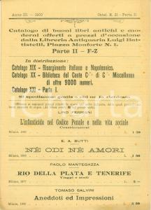 1900 MILANO Libreria antiquaria Luigi BATTISTELLI Catalogo libri antichi