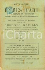 1898 PARIS Librairie RAPILLY Catalogue livres d'art architecture décoration