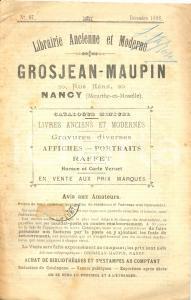 1898 NANCY (F) Librairie GROSJEAN-MAUPIN Livres anciens et modernes n° 67