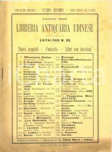 1900 UDINE Libreria ANTIQUARIA UDINESE Catalogo nuovi acquisti curiosità  n°23