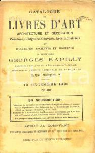 1898 PARIS Librairie GEORGES RAPILLY Catalogue LIVRES D'ART architecture N° 30