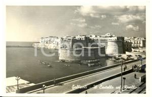 1945 ca GALLIPOLI (LE) Castello con RIVELLINO *Cartolina postale ANIMATA FP NV