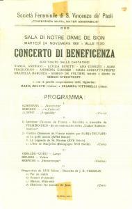 1931 TRIESTE Concerto beneficenza Società Femminile SAN VINCENZO DE' PAOLI