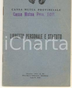 1933 GARDONE RIVIERA (BS) Giardiniere Battista GHIRARDI Cassa Mutua Edili