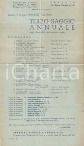 1939 TRIESTE Saggio annuale Ateneo Musicale Triestino *Programma