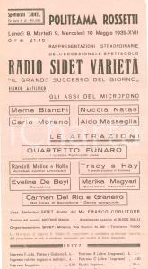 1939 TRIESTE Radio SIDET varietà assi del microfono a Politeama ROSSETTI