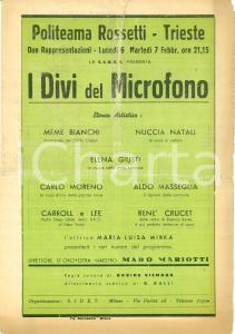 1939 TRIESTE Concorso canzonette popolari Politeama ROSSETTI *Programma