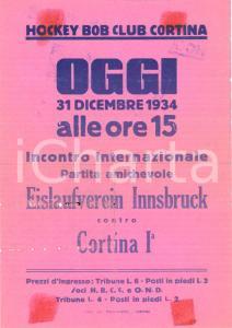 1934 CORTINA D'AMPEZZO (BL) Hockey Eislauferein INNSBRUCK *Locandina DANNEGGIATA