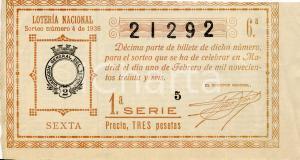 1936 MADRID (ES) Biglietto della Loteria Nacional