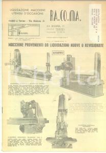 1971 TORINO Ditta RA. CO. MA. Occasioni macchine utensili *Catalogo ILLUSTRATO
