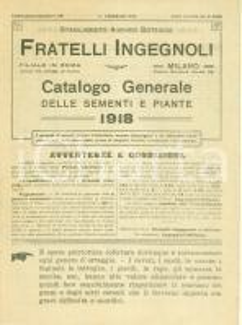 1918 MILANO Stabilimento Agrario Botanico Fratelli INGEGNOLI Catalogo generale
