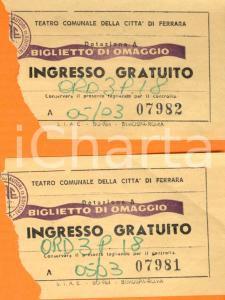 1964 FERRARA Ingresso gratuito al Teatro comunale *Biglietti