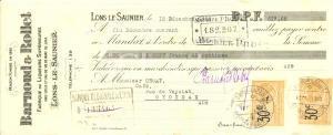 1925 LONS-LE-SAUNIER (F) Maison BARNOUD & ROLLET liqueurs Cambiale pubblicitaria
