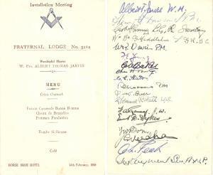 1949 LONDON FREEMASONRY Fraternal Lodge 5212 Menù installazione con AUTOGRAFI