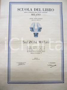 1930 MILANO SCUOLA DEL LIBRO Attestato Mario BOLZONI composizione a mano