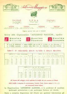 1957 PALERMO Autoservizi MAGGIORE tariffe noleggio senza autista *Pubblicità