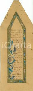 1900 ca FRANCIA Preghiera Angelo Custode Segnalibro manoscritto DECORATO