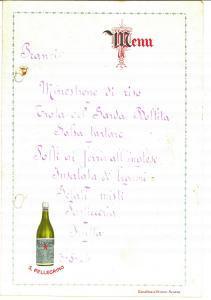 1924 Acqua minerale SAN PELLEGRINO Menù pubblicitario VINTAGE