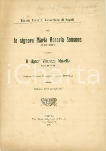 1917 PORTICI (NA) Maria Rosaria SANSONE vs Vincenzo MUSELLA per forno abusivo