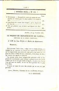 1832 AURILLAC (F) JOURNAL D'ANNONCES n° 51 - Mendiant Jean SARGEIX disparu