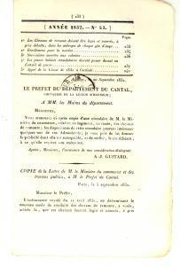 1832 AURILLAC (F) JOURNAL D'ANNONCES n° 43 - Rachitiques envoyés à la Marine