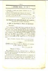 1832 AURILLAC (F) JOURNAL D'ANNONCES n° 28 - Primes pour l'éducation des chevaux