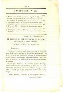 1832 AURILLAC (F) JOURNAL D'ANNONCES n° 42 Faux certificats maladie aux soldats