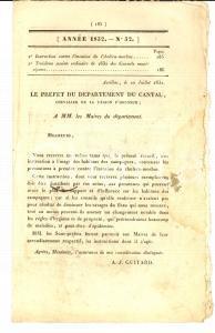 1832 AURILLAC (F) JOURNAL D'ANNONCES n° 32 Contre le choléra dans les campagnes