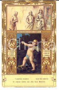 1910 ca Cupido al primo incontro di Dante e Beatrice *Cartolina VINTAGE FP NV