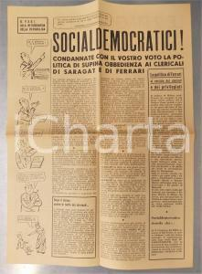 1956 MILANO PCI Socialdemocratici contro Giuseppe SARAGAT e PSDI Satira politica