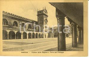 1935 ca MANTOVA Palazzo della RAGIONE e torre dell'orologio *Cartolina FP NV