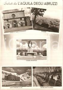 1960 ca L'AQUILA Vedutine CAMPO IMPERATORE Fontana monumentale *Cartolina FG VG
