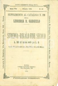 1893 ROMA Libreria Raffaele GARGIULO Catalogo strenna-regalo fine secolo