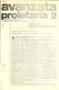 1982 AVANZATA PROLETARIA Lega Socialista Rivoluzionaria non riceve fondi oscuri