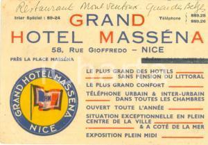 1950 ca NICE (F) Grand Hotel MASSENA *Cartoncino con mappa